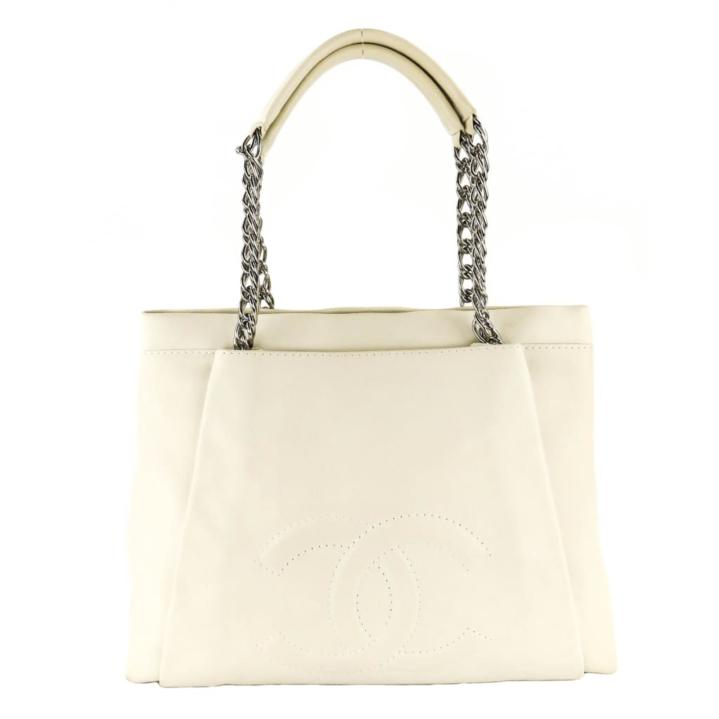 Chanel Off White Caviar Leather CC Tuck Tote Bag - Totes