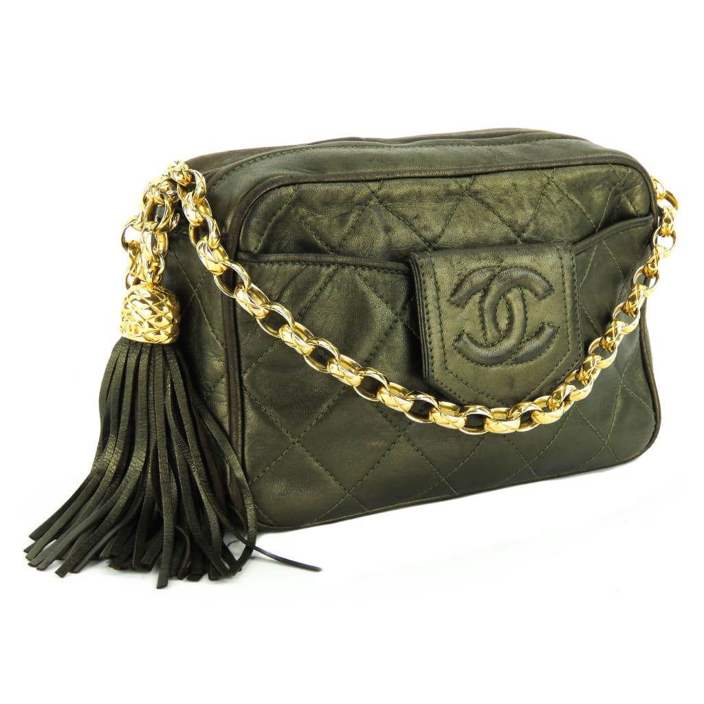 c3943a63a111 Chanel Olive Green Quilted Leather Vintage Mini CC Camera Crossbody Bag -  Crossbodies