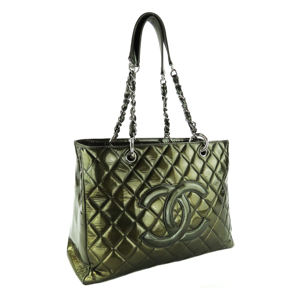 Chanel Pewter Patent Leather Brushed Gold Grand Shopper Tote Bag - Totes