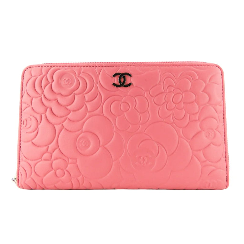 Chanel Pink Leather Camellia Embossed Zip Around Organizer Wallet - Wallet