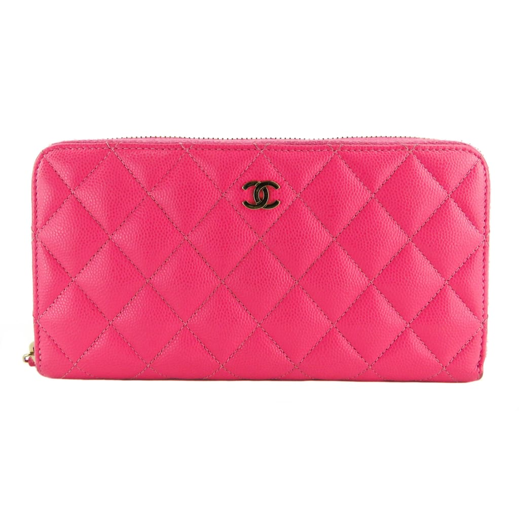 Chanel Pink Quilted Caviar Leather Zip Around Wallet - Wallet