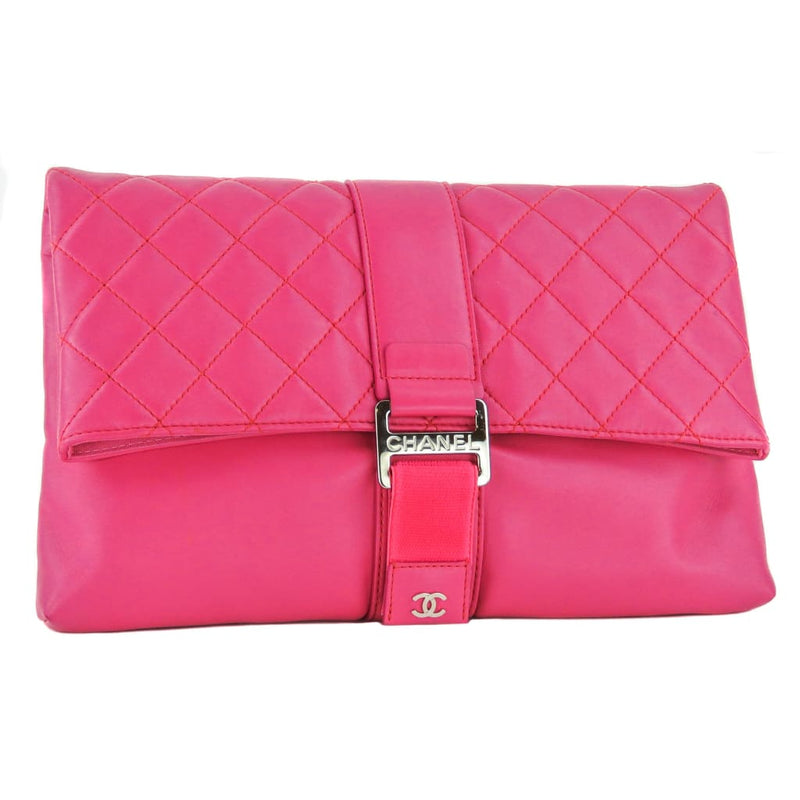 Chanel Pink Quilted Leather Large CC Foldover Clutch Bag - Clutches