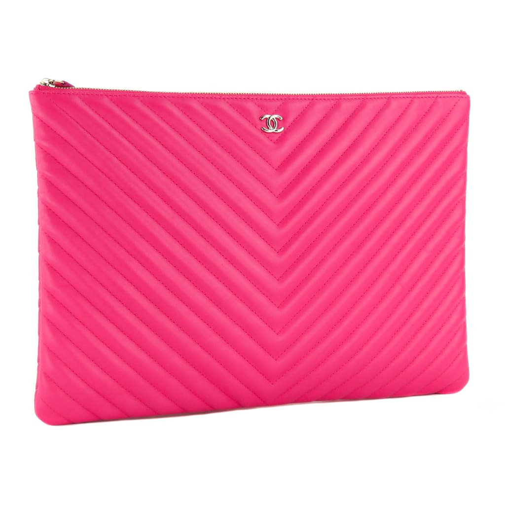 Chanel Pink Quilted Leather Large Chevron O Case Clutch Bag - Clutches