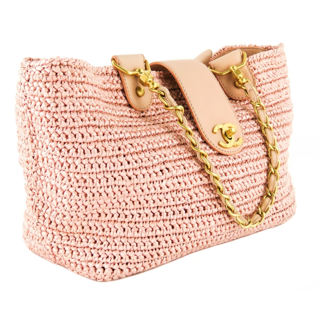 Chanel Pink Straw Woven Raffia CC Leather Tote Bag - Totes