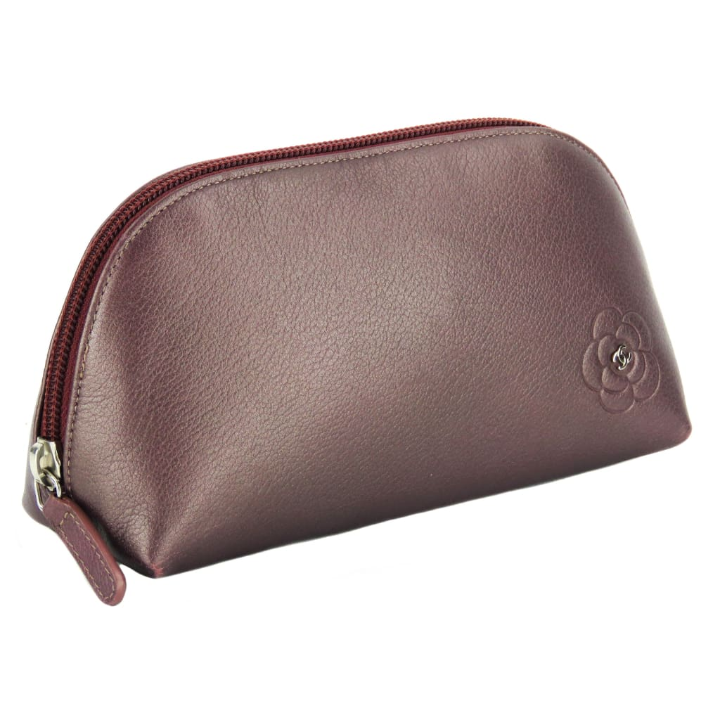 Chanel Purple Metallic Leather CC Camellia Flower Pouch - Pouch