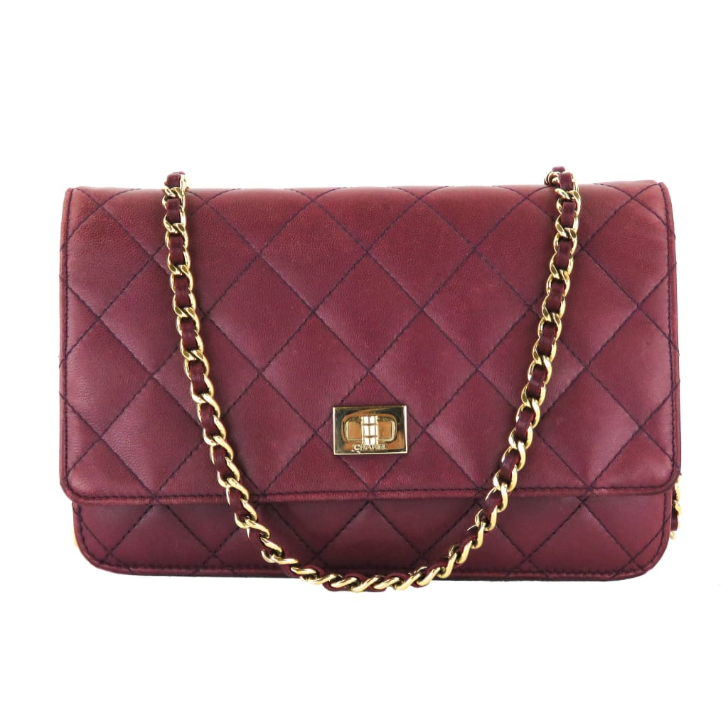 Chanel Purple Quilted Leather Reissue Wallet On Chain Crossbody Bag - Crossbodies