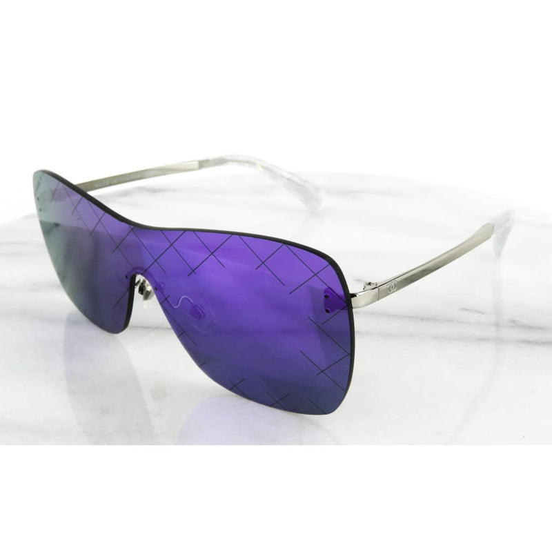 Chanel Purple Silver-tone Metal Blue Tinted Shield Airline Runway Sunglasses - Sunglasses