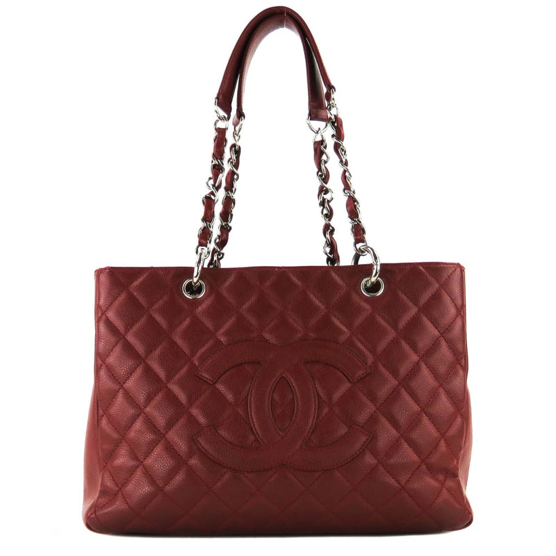 Chanel Red Quilted Caviar Leather Grand Shopper Tote Bag - Totes