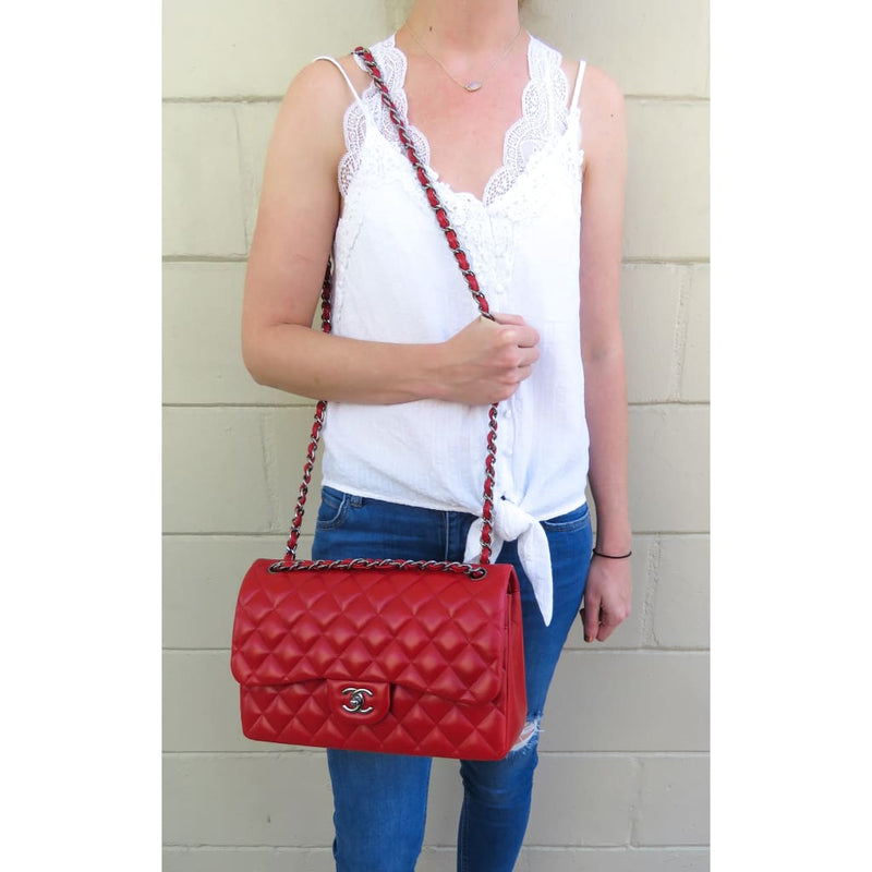Chanel Red Quilted Lambskin Leather Jumbo Double Flap Shoulder Bag - Shoulder Bags