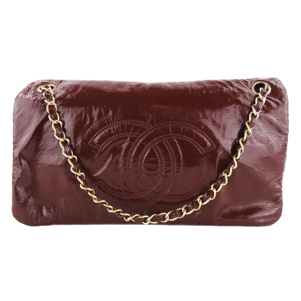 Chanel Red Vinyl Patent Leather Bordeaux Rock And Chain CC Flap Shoulder Bag - Shoulder Bags