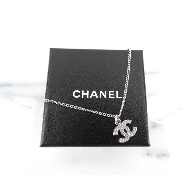 Chanel Silver-tone Crystal CC Small Logo Pendant Necklace - Necklace
