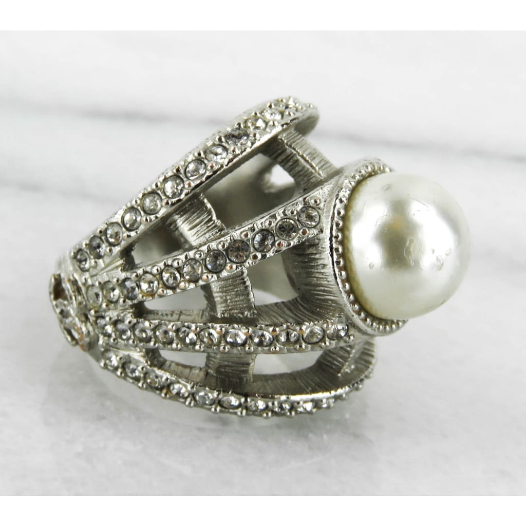 Chanel Silver-tone Faux Pearl Crystal Ring - Ring