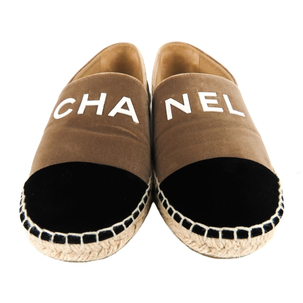 Chanel Tan and Black Velvet Coco Niege Espadrille Flats - Flats