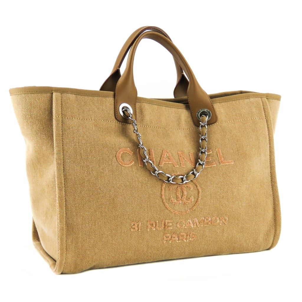 Chanel Tan Canvas Large Sequin Deauville Tote Bag - Totes