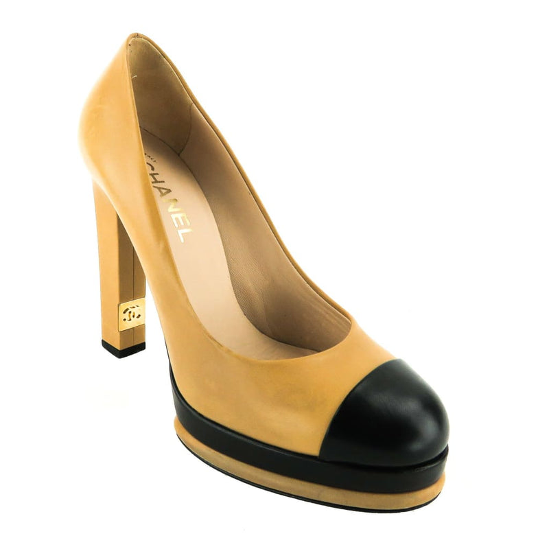 Chanel Tan Leather Black Cap Toe Platform Pumps - Pumps