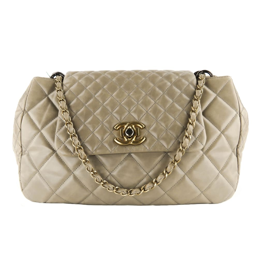 Chanel Taupe Quilted Leather CC Boy Lock Flap Shoulder Bag - Shoulder Bags