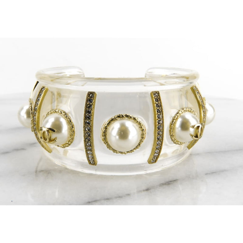 Chanel Transparent Resin Gold-tone Crystal and Glass Pearls Cuff Bracelet - Bracelet