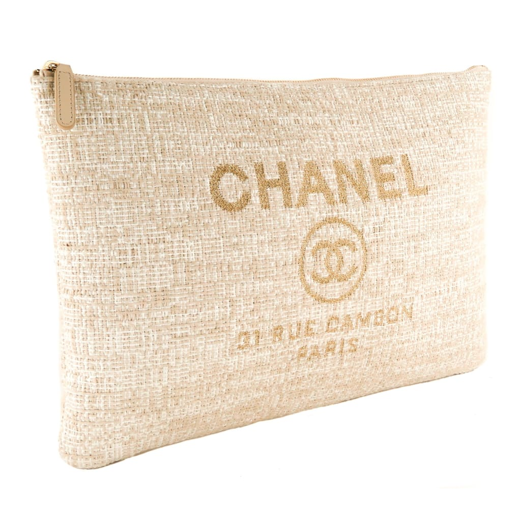 Chanel White and Cream Canvas Deauville Cosmetic Pouch Clutch Bag - Clutches