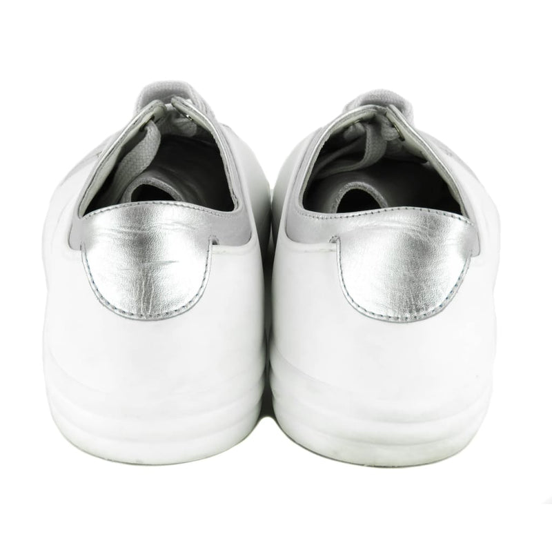 Chanel White and Silver Metallic Leather Iridescent Sneakers - Sneakers