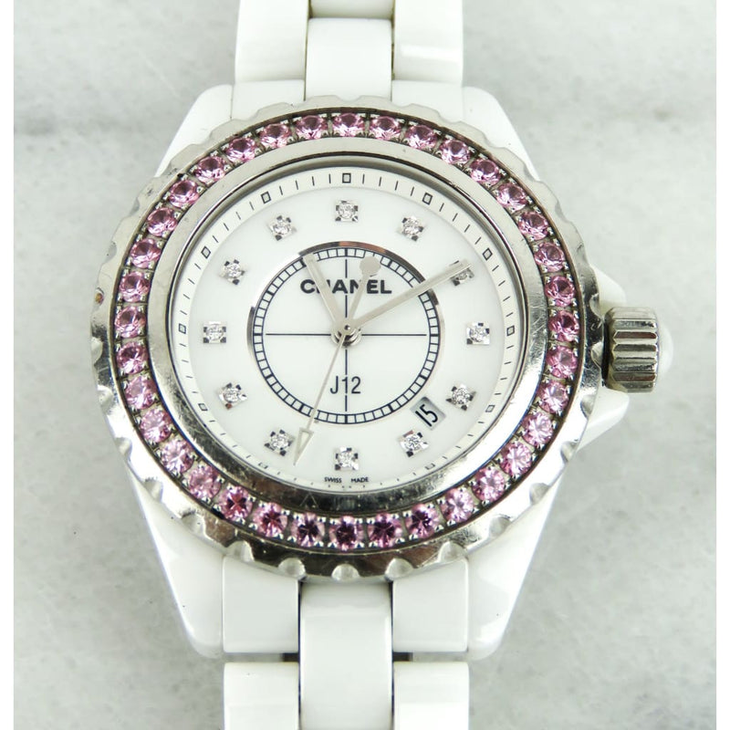 Chanel White Ceramic Pink Sapphire Diamond Dial Mother of Pearl J12 Watch - Watches
