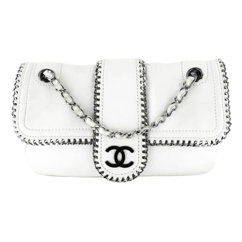 Chanel White Leather Classic Flap Chain Wrap Whipstitch Shoulder Bag - Shoulder Bags