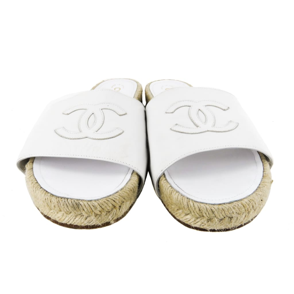 Chanel White Patent Leather Espadrille Slide Sandals - Sandals
