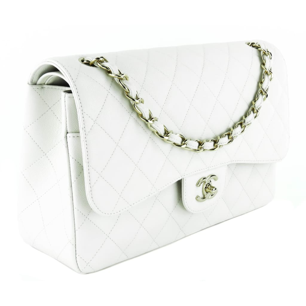 Chanel White Quilted Caviar Leather Jumbo Double Flap Shoulder Bag - Shoulder Bags