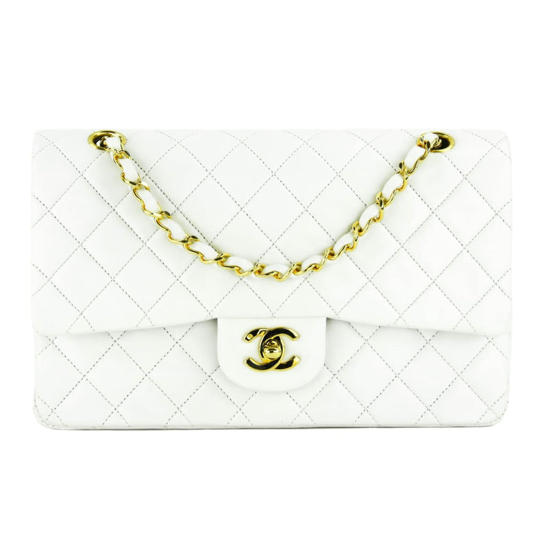 Chanel White Quilted Lambskin Leather Classic Double Flap Shoulder Bag - Shoulder Bags