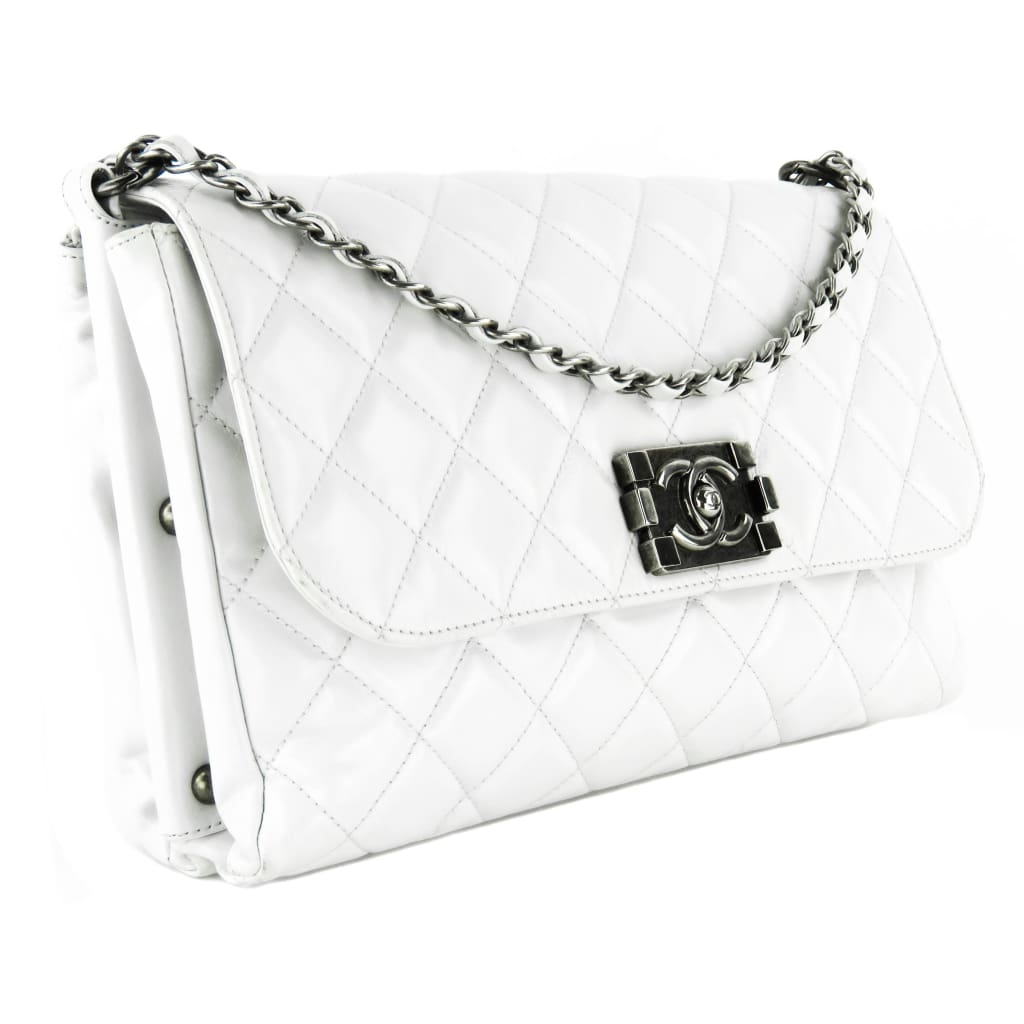 Chanel White Quilted Leather Square Boy Shoulder Bag - Shoulder Bags