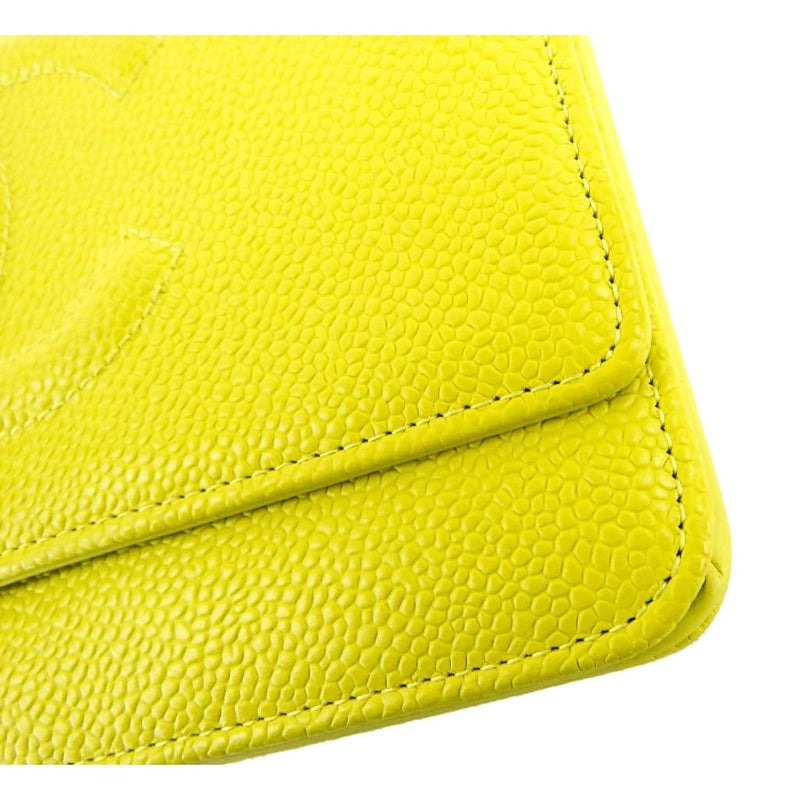 Chanel Yellow Caviar Leather Timeless CC Wallet On Chain Crossbody Bag - Crossbodies