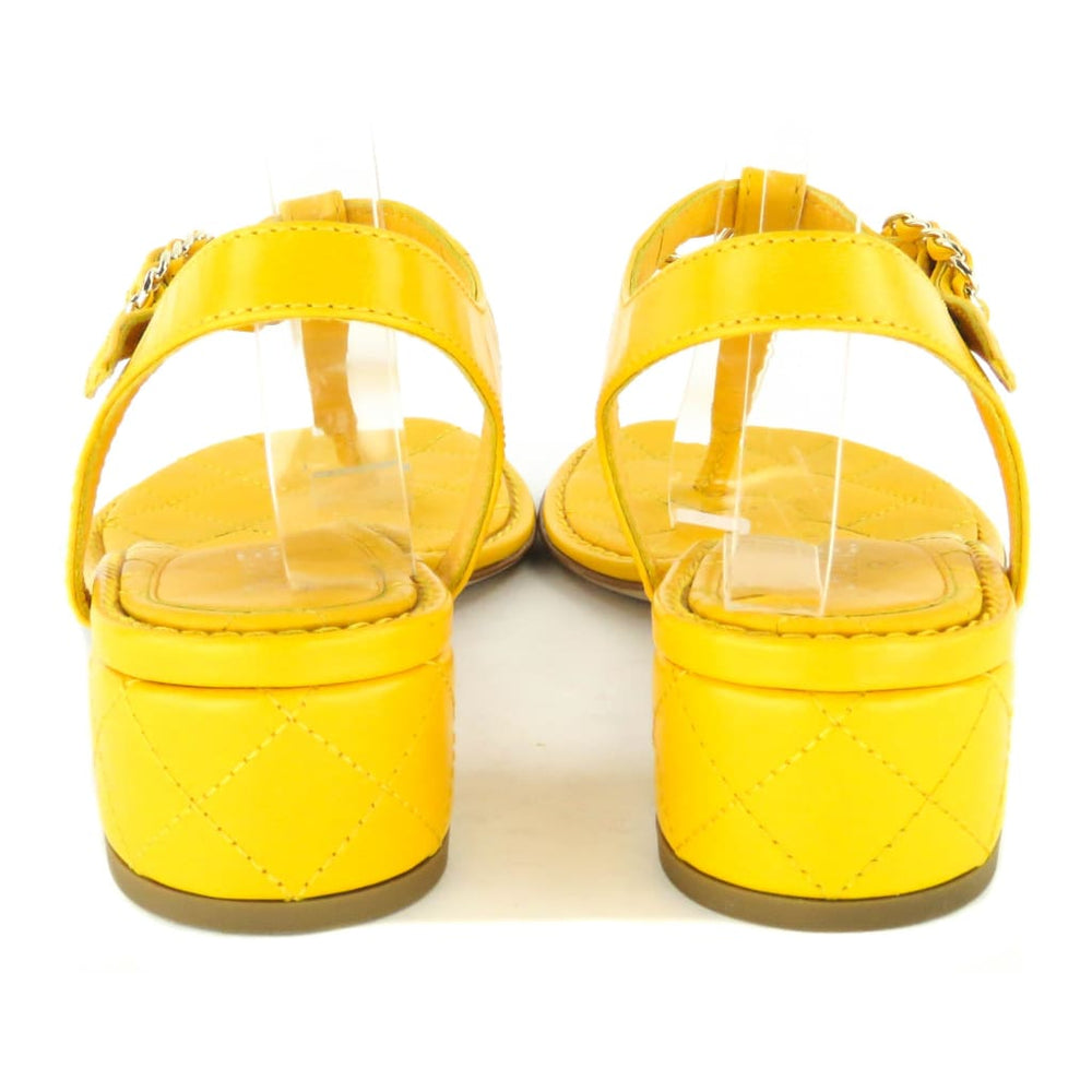 13a4ca6b7631 Chanel Yellow Quilted Leather Chain Detail Logo Thong Sandals – Mosh Posh  Designer Consignment Boutique