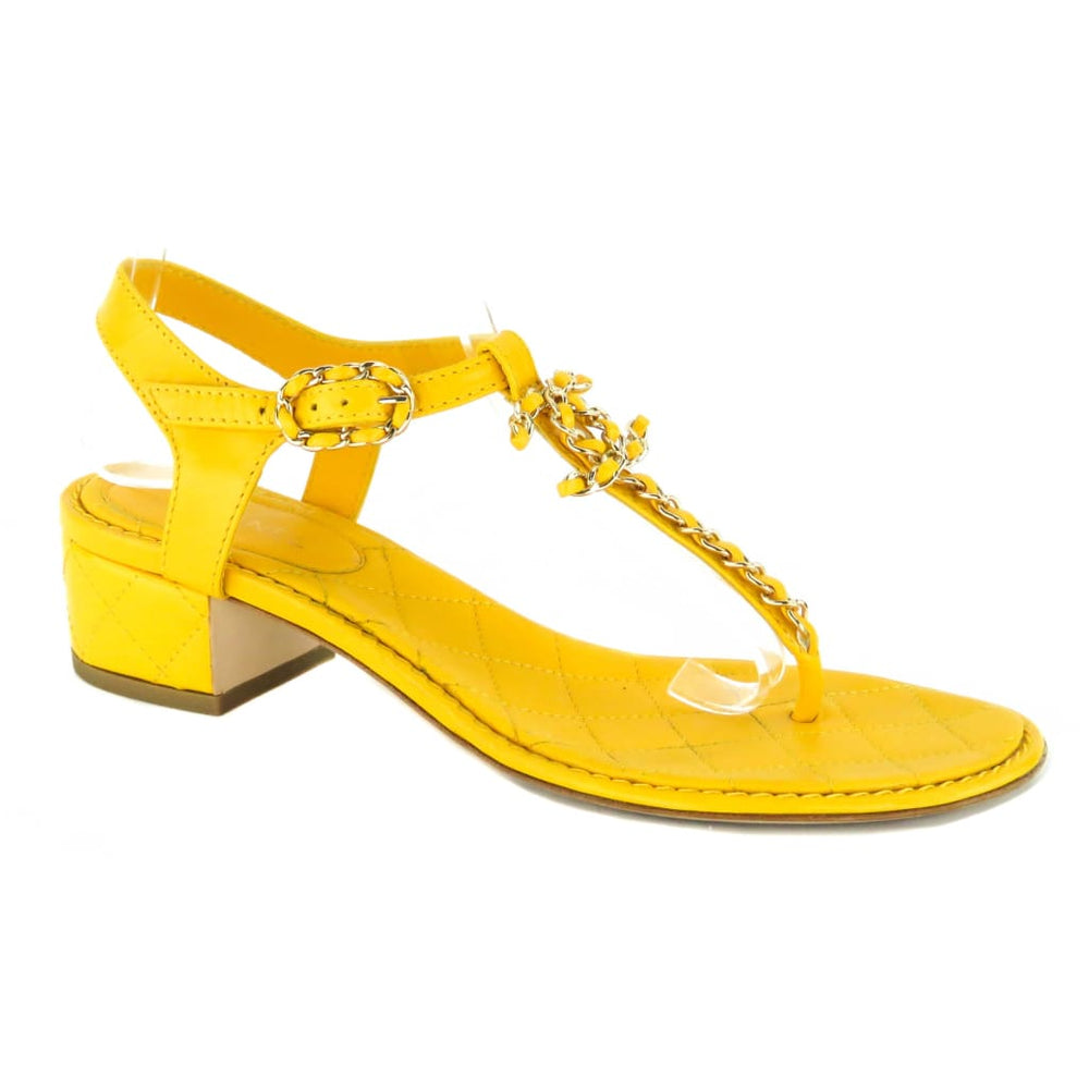 8199b1259 Chanel Yellow Quilted Leather Chain Detail Logo Thong Sandals – Mosh ...