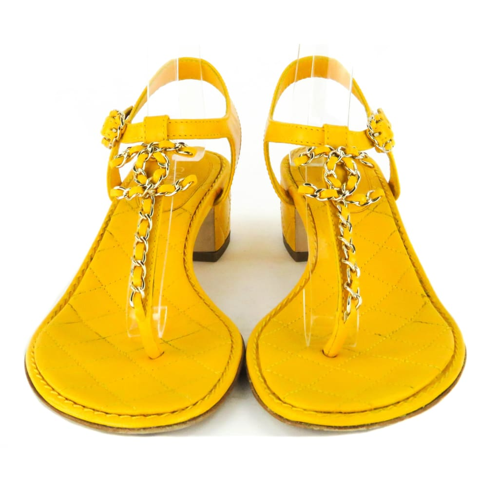 Chanel Yellow Quilted Leather Chain Detail Logo Thong Sandals - Sandals