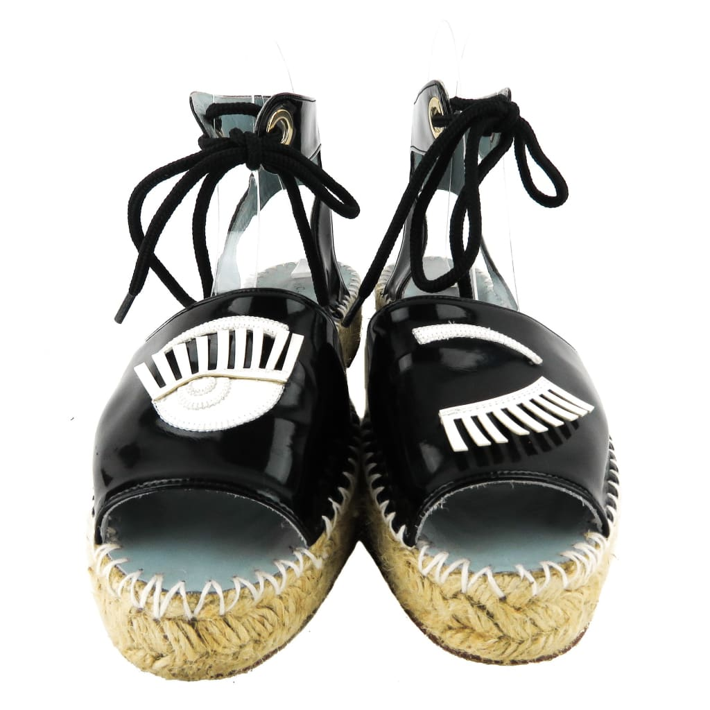 Chiara Ferragni Black Patent Leather Lace Up Flirting Espadrille Sandals - Sandals