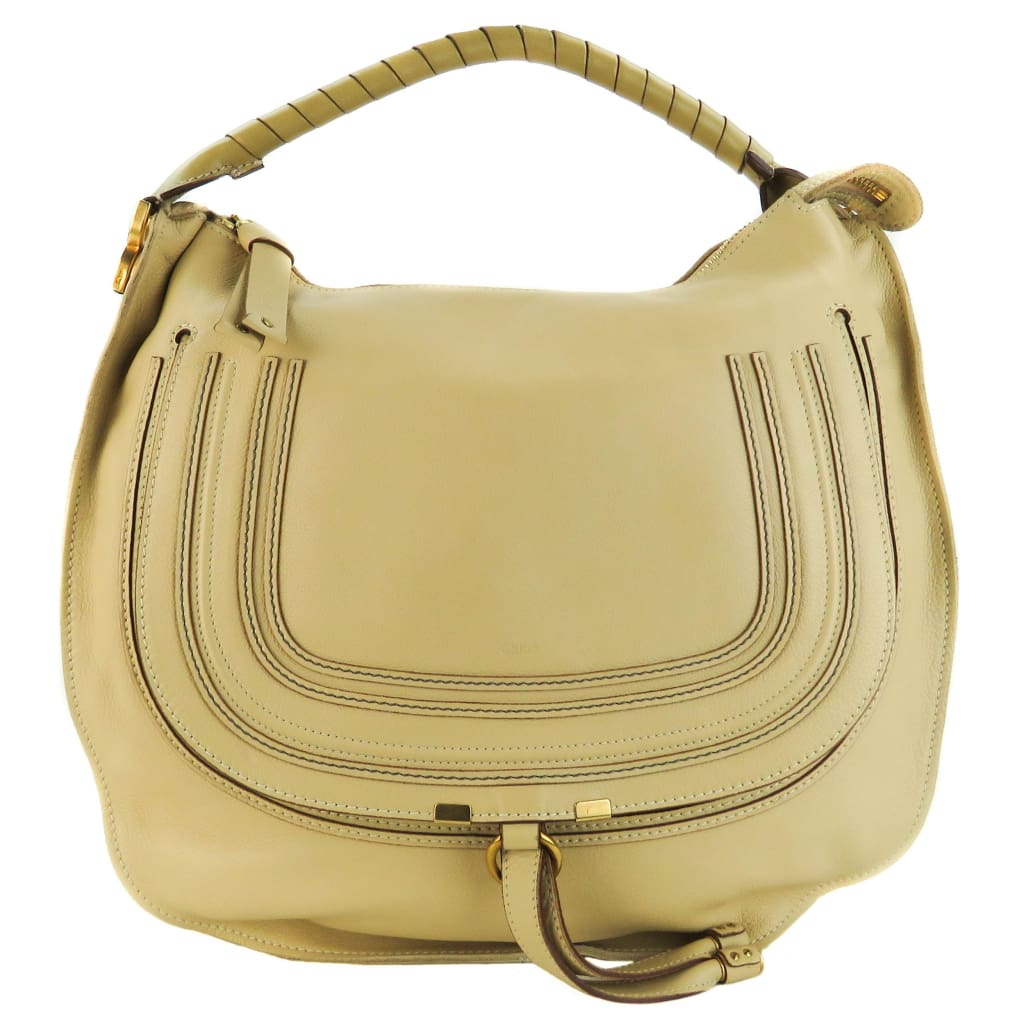 Chloe Beige Leather Large Marcie Hobo Bag - Hobo Bags