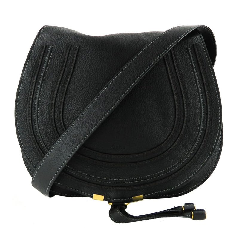 Chloe Black Leather Medium Marcie Crossbody Bag - Crossbodies
