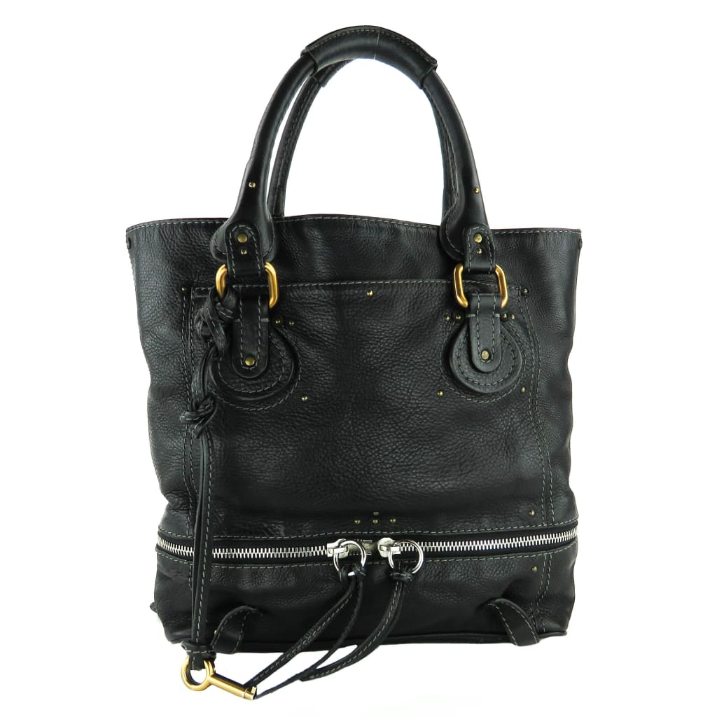 Chloe Black Leather Paddington Zip Tote Bag - Totes
