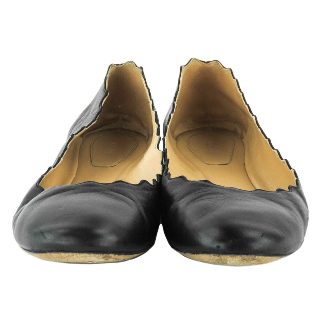 Chloe Black Leather Scalloped Lauren Ballet Flats - Flats