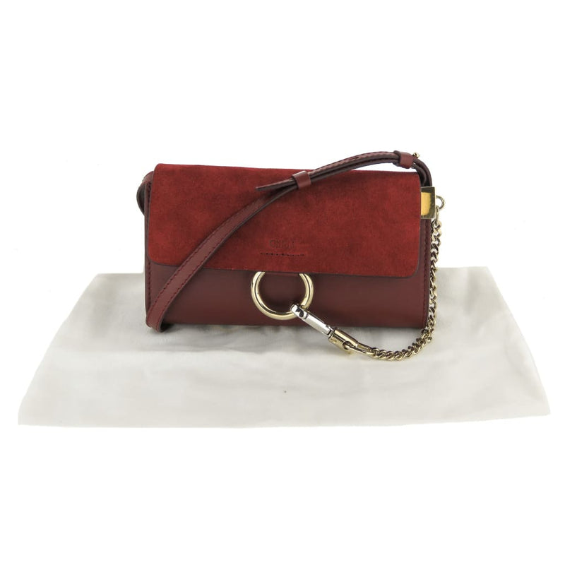 Chloe Burgundy Leather and Suede Mini Faye Shoulder Bag - Shoulder Bags