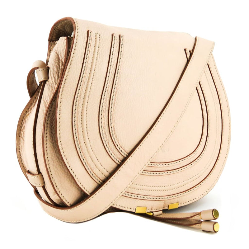 Chloe Light Pink Leather Medium Marcie Crossbody Bag - Crossbodies