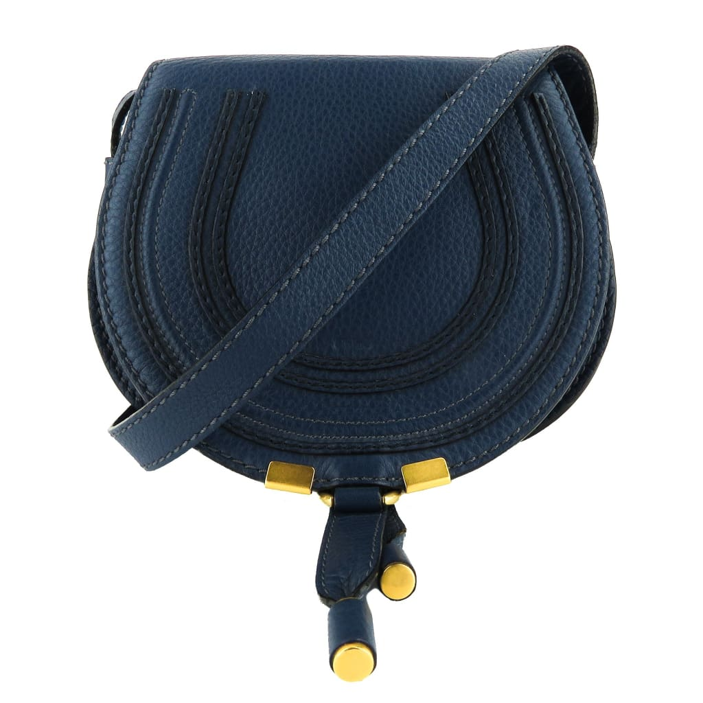 Chloe Navy Blue Leather Mini Marcie Crossbody Bag - Crossbodies