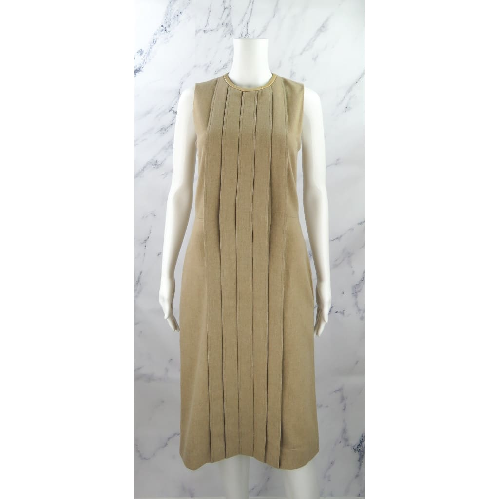Chloe Tan Wool Size 36 Camel Pleated Sleeveless Dress - Dresses