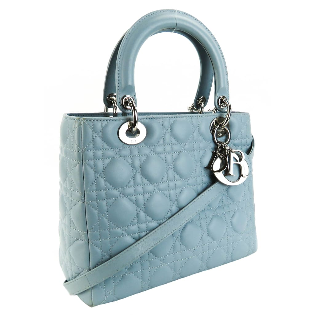 Christian Dior Light Blue Cannage Quilted Leather Lady Dior Tote Bag - Totes