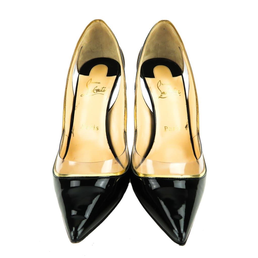 Christian Louboutin Black and Gold Patent Leather Cosmo 554 PVC Pumps - Heels