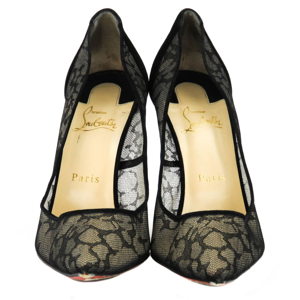 huge selection of 03a5e 7656a Christian Louboutin Black Suede Pigalace 100 Dentelle Pumps ...