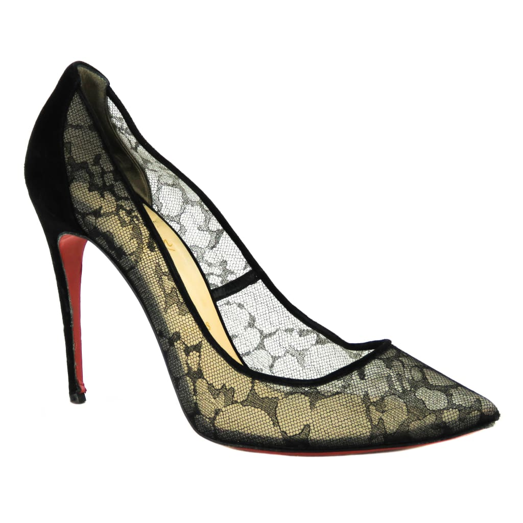 Christian Louboutin Black Lace Pigalace Dentelle Suede Pumps - Heels