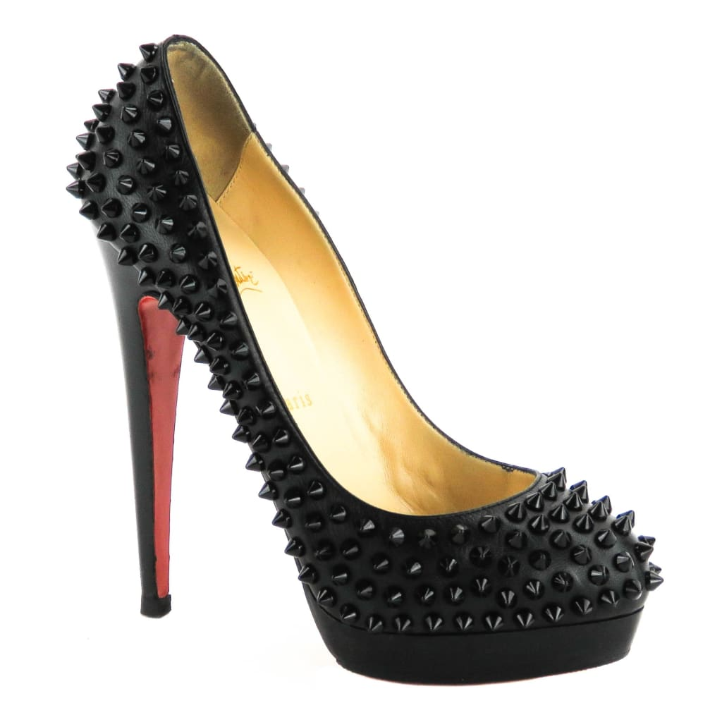 Christian Louboutin Black Leather Alti Spikes Platform Pumps - Heels