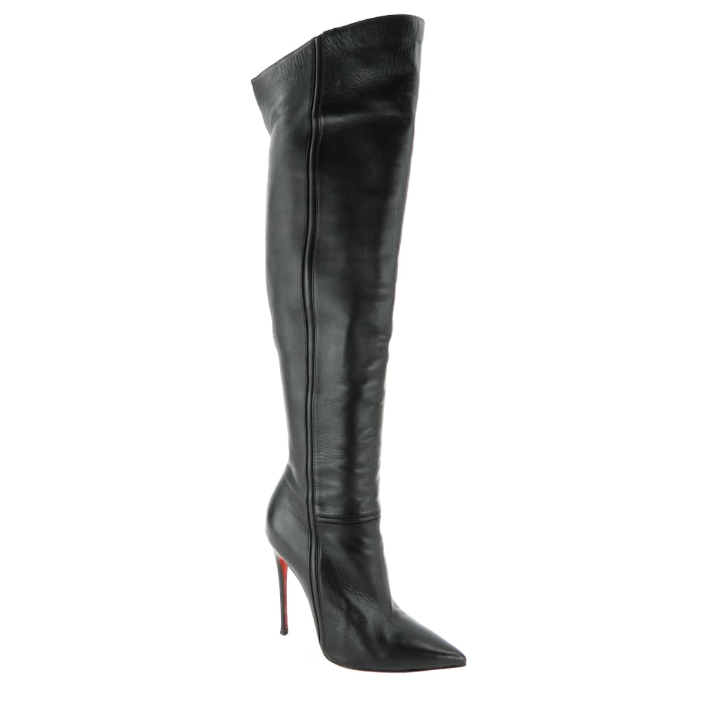 nouveau style dc1dc 013c6 Christian Louboutin Black Leather Armurabotta Over The Knee Boots