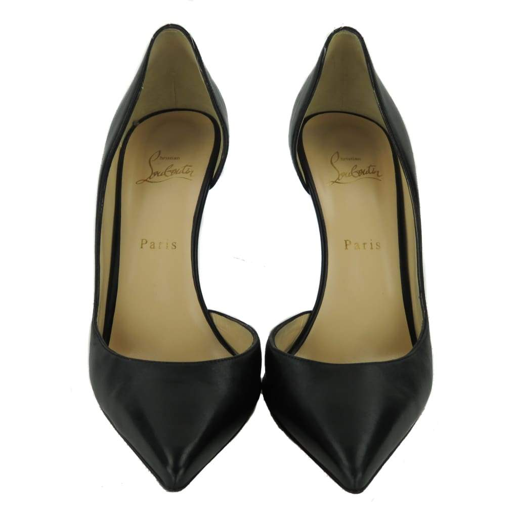 Christian Louboutin Black Leather Iriza Pointed Toe Pumps - Heels