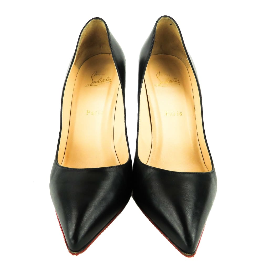 Christian Louboutin Black Leather Pigalle 100 Pointed Toe Pumps - Heels